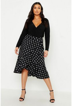 Womens Black Plus Polka Dot Ruffle Midi Skirt