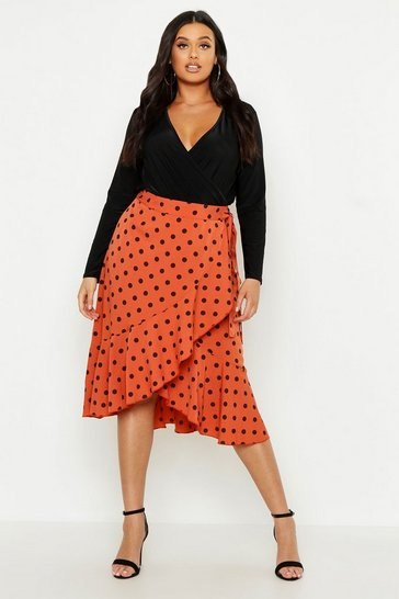 Womens Rust Plus Polka Dot Ruffle Midi Skirt