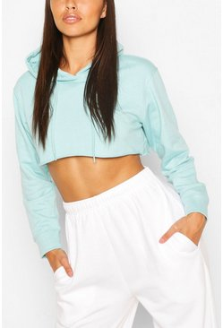 Turquoise Petite Cropped Oversized Hoody