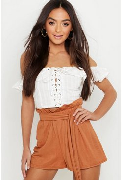 Womens Rust Petite Linen Look Tie Waist Flippy Shorts