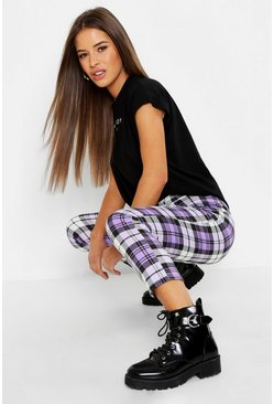 Womens Purple Petite Check Tapered Trouser