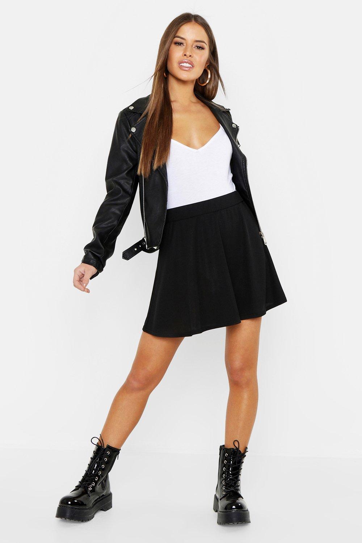 Petite Ribbed Basic Skater Skirt