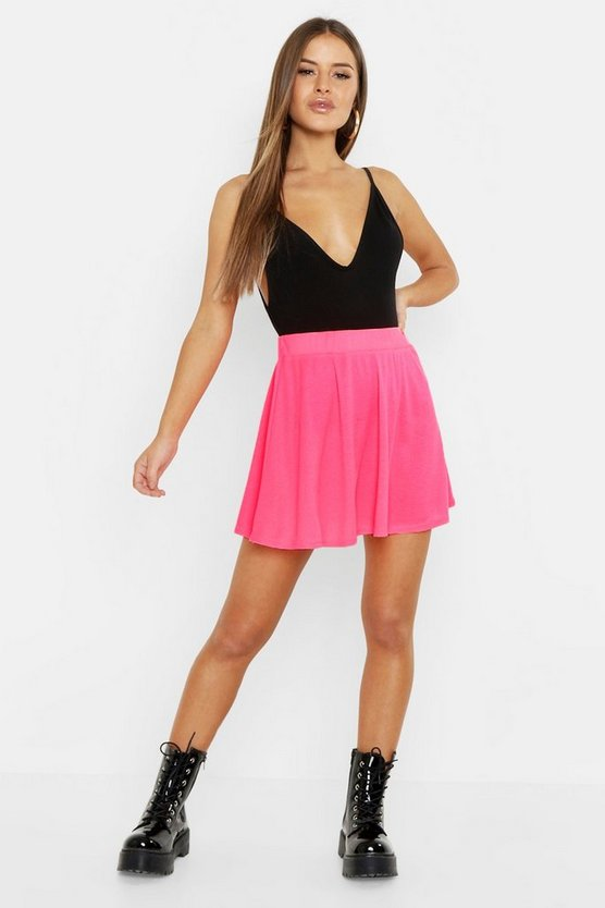 Womens Neon-pink Petite Ribbed Basic Skater Skirt