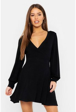 Womens Black Petite Wrap Balloon Sleeve Skater Dress