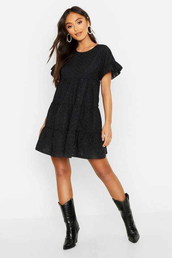 Womens Black Petite Broderie Anglaise Smock Dress