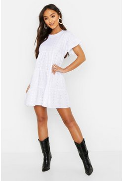 Womens White Petite Broderie Anglaise Smock Dress