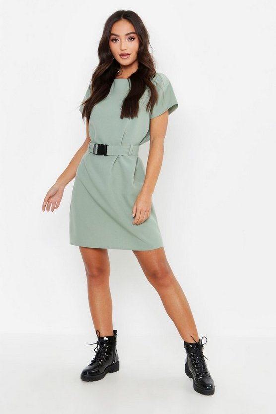 Womens Khaki Petite Belted Buckle Shift Dress