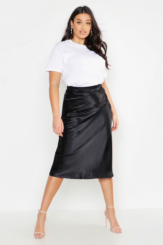 Plus Satin Bias Midi Skirt