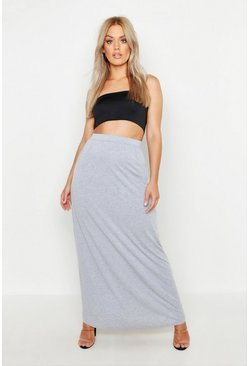 Plus Pocket Front Jersey Maxi Skirt, Grey