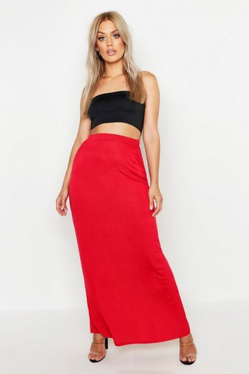 Womens Red Plus Pocket Front Jersey Maxi Skirt