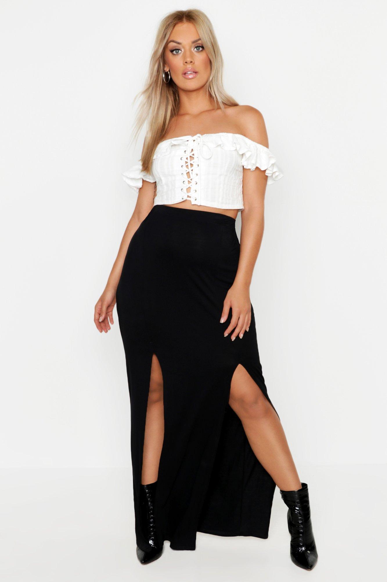 Plus Jersey Split Basic Maxi Skirt