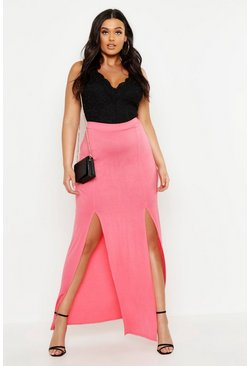 Womens Coral Plus Jersey Split Basic Maxi Skirt
