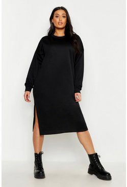 Womens Black Plus Split Side Sweat Midi Dress