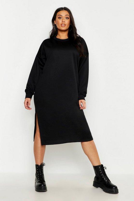 Plus Split Side Sweat Midi Dress