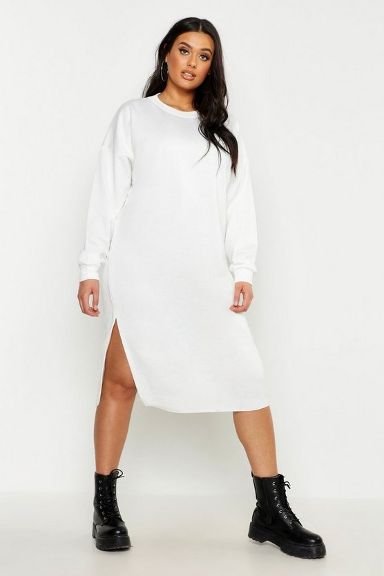 Womens White Plus Split Side Sweat Midi Dress