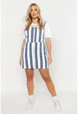 Womens Navy Plus Stripe Denim Pinafore Dress