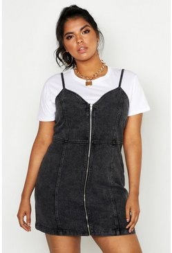 Womens Grey Plus Acid Wash O-Ring Zip Denim Pinafore