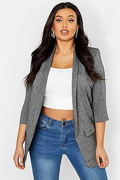 Plus Linen Ruched Sleeve Blazer
