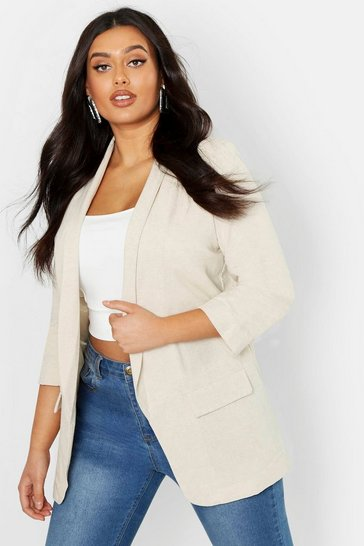 Womens Stone Plus Linen Ruched Sleeve Blazer