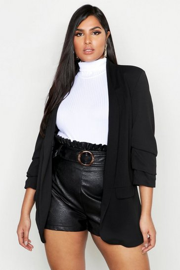 Womens Black Plus Collarless Ruched Sleeve Blazer