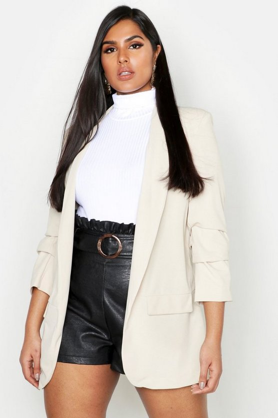 Womens Stone Plus Collarless Ruched Sleeve Blazer