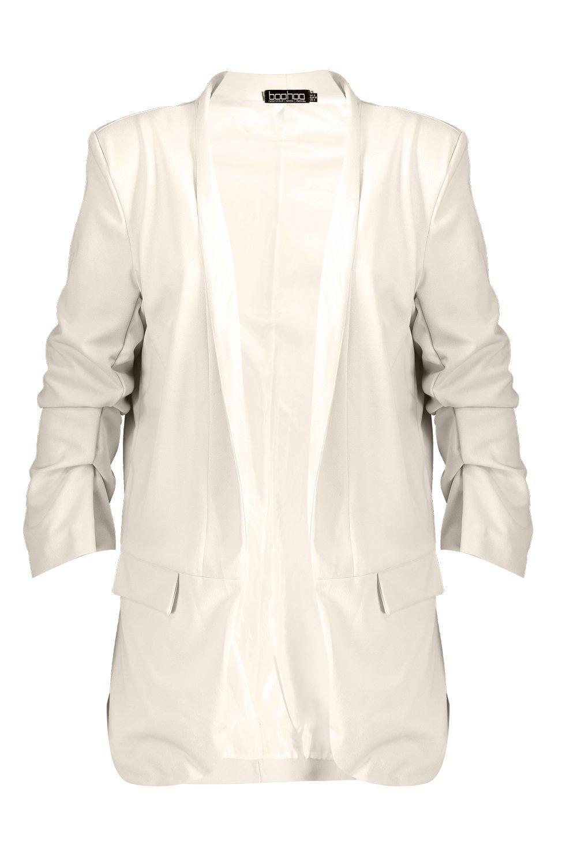 8499fddd487 Boohoo Womens Plus Collarless Ruched Sleeve Blazer