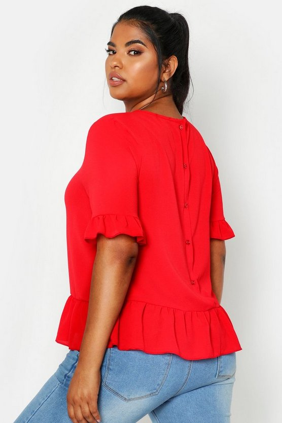 Womens Red Plus Woven Button Back Smock Top