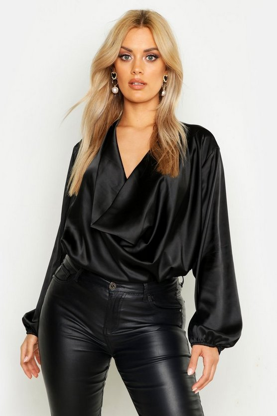 Womens Black Plus Satin Cowl Long Sleeve Blouse