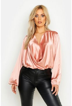 Dusky pink Plus Satin Cowl Long Sleeve Blouse