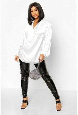 Plus Satin Cowl Long Sleeve Blouse, Ivory