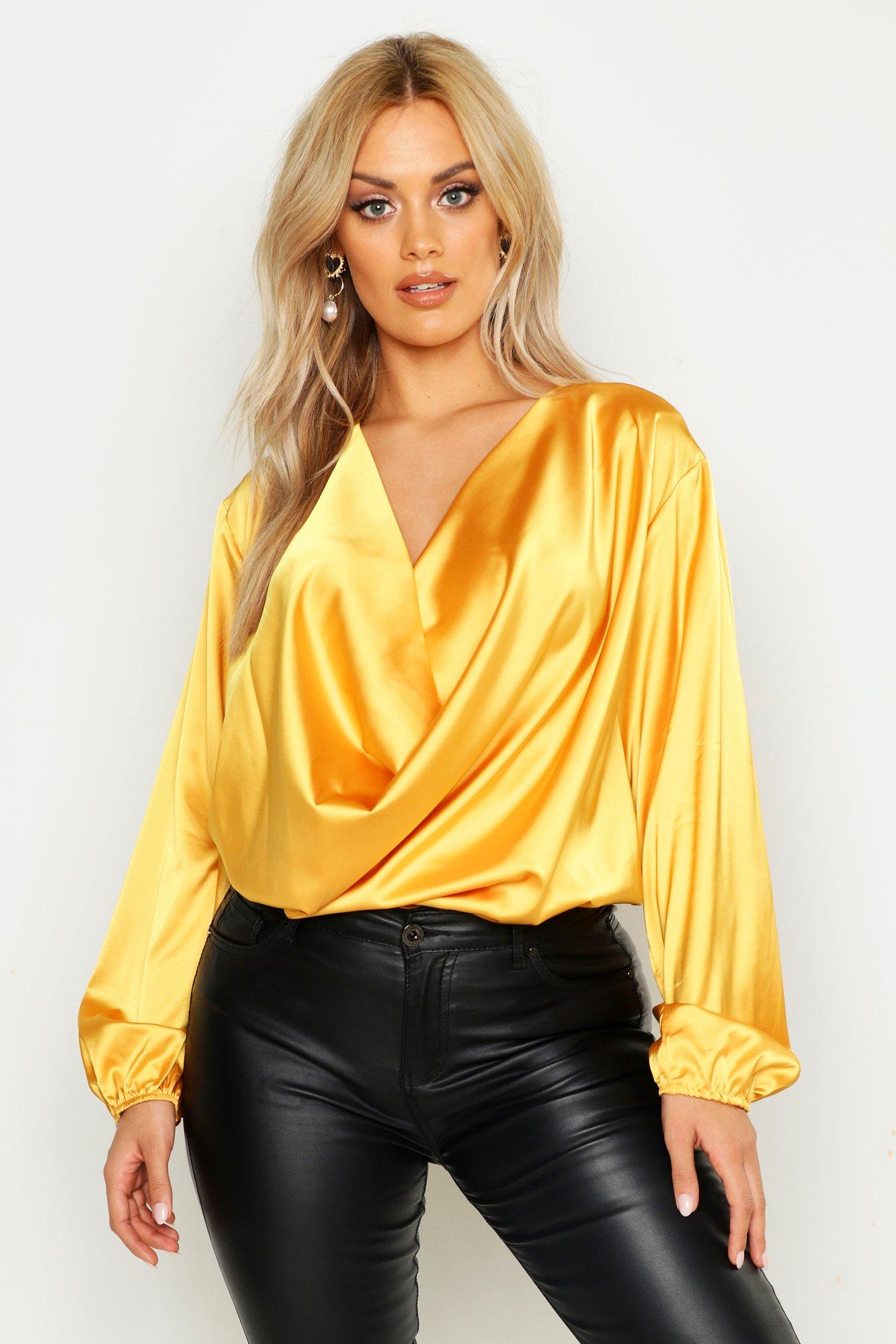 Vintage Tops & Retro Shirts, Halter Tops, Blouses Womens Plus Satin Cowl Long Sleeve Blouse - yellow - 16 $40.00 AT vintagedancer.com