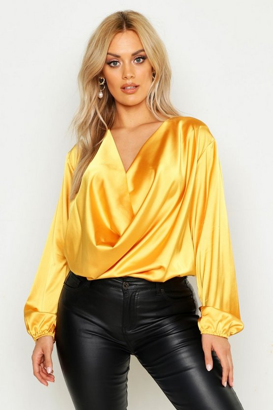 Plus Satin Cowl Long Sleeve Blouse, Mustard, Donna