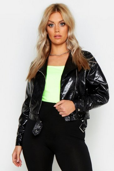 Womens Black Plus Snake PU Biker Jacket