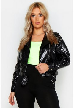 Plus Snake PU Biker Jacket, Black, ЖЕНСКОЕ