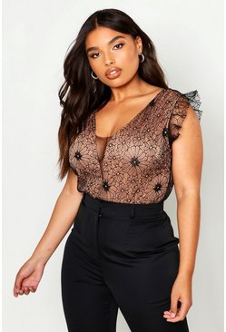 Womens Black Plus Lace Cap Sleeve Bodysuit