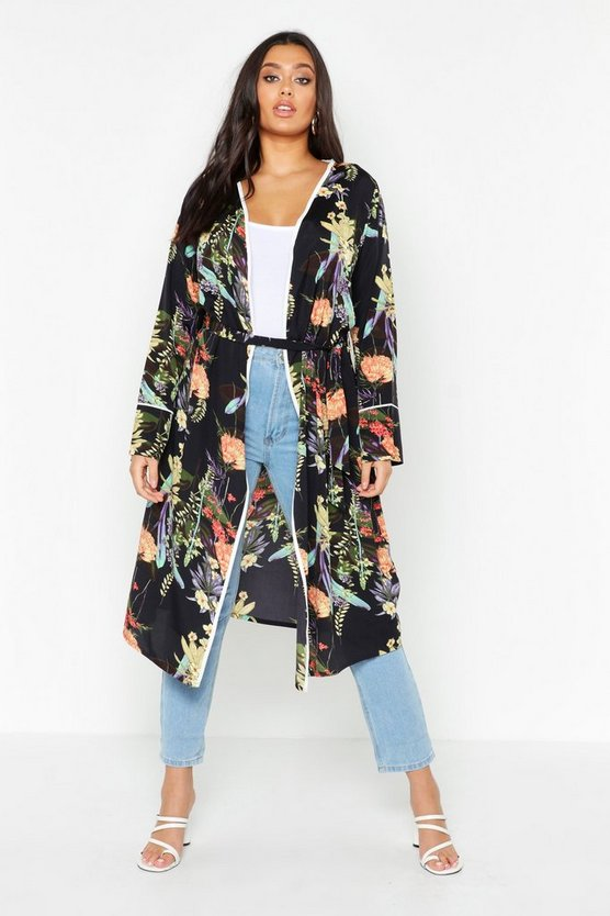 Womens Black Plus Dark Tropical Floral Belted Kimono
