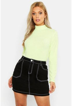Womens Lime Plus Washed Pastel Roll Neck