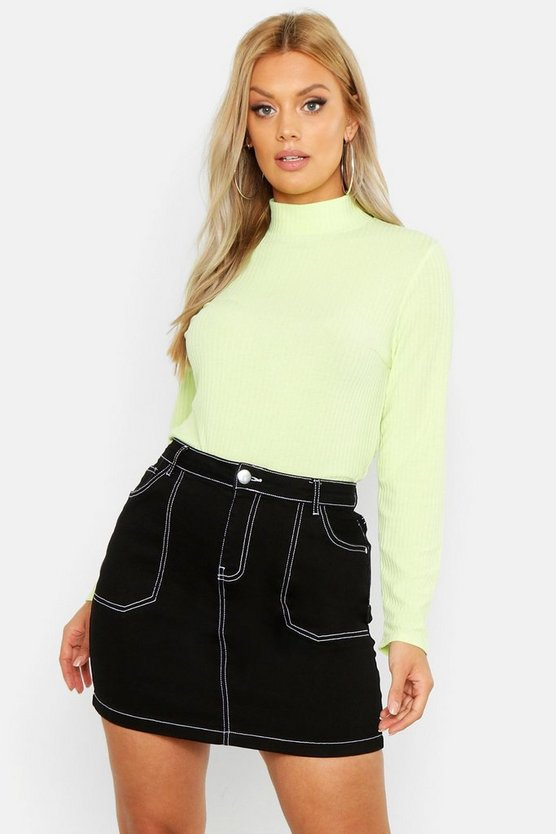 Plus Washed Pastel Roll Neck, Lime, ЖЕНСКОЕ