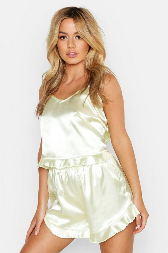 Womens Pistachio Petite Satin Cami Top and Short Set