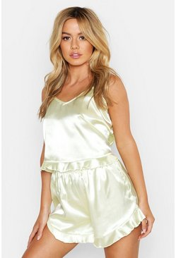 Petite Satin Cami Top and Short Set, Pistachio, Donna