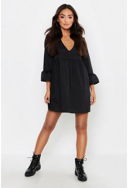 Petite V Neck Smock Dress, Black
