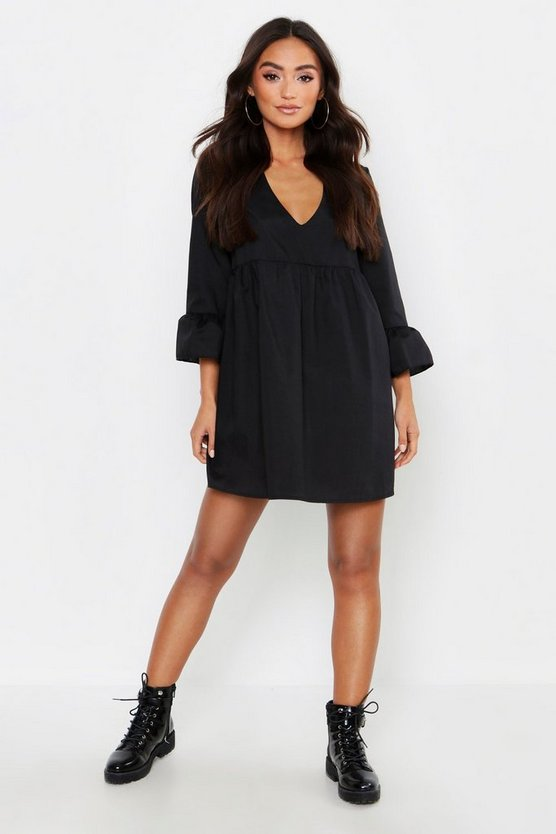 Petite V Neck Smock Dress, Black, MUJER