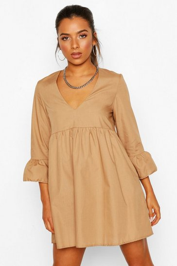 Camel Petite V Neck Smock Dress