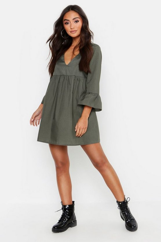 Khaki Petite V Neck Smock Dress