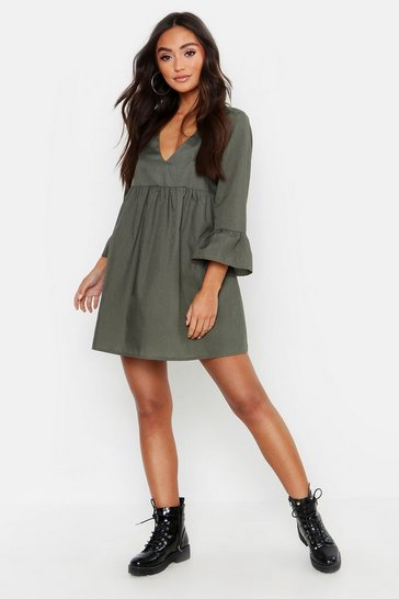 Womens Khaki Petite V Neck Smock Dress