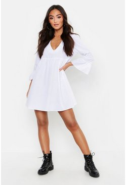 Womens White Petite V Neck Smock Dress