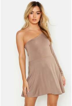Womens Mocha Petite One Shoulder Skater Dress