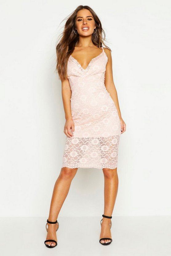 Womens Coral blush Petite Lace Plunge Midi Dress