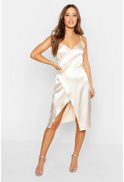 Womens Champagne Petite Satin Wrap Midi Dress