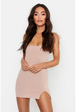 Womens Stone Petite Extreme Scoop Ribbed Cami Dress